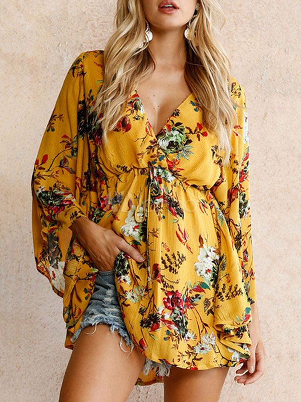 Yellow Summer Dress V Neck Draped Boho Floral Print 3/4 Length Sleeve Women's Short Dresses
