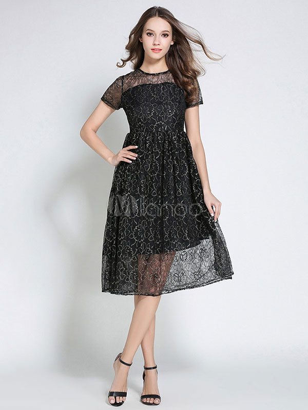 148b8ef665ac Vestito in pizzo nero donna maniche corte con scollo tondo di pizzo  modellante -No.