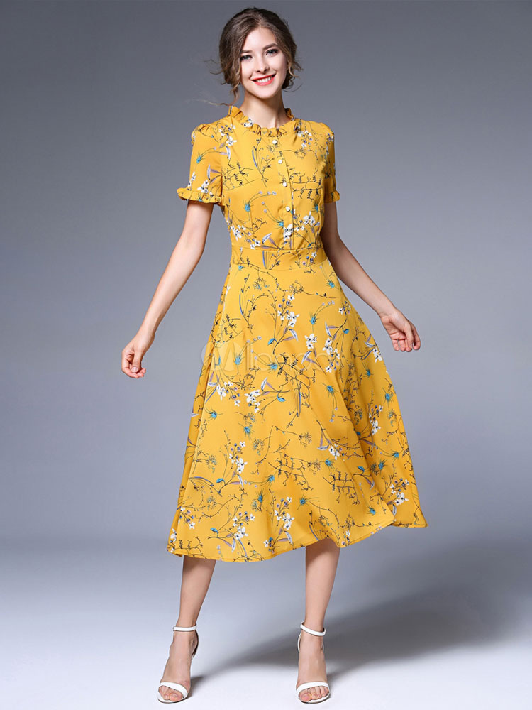 Yellow Skater Dress Round Neck Short Sleeve Chiffon Floral