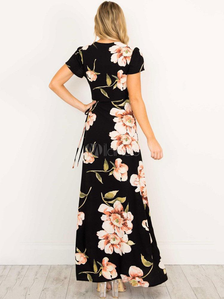 Milanoo / Black Maxi Dress V Neck Short Sleeve Boho Floral Print Women's Long Dresses