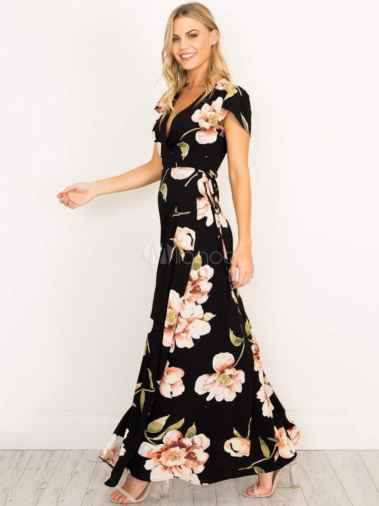 035991f31eaa ... Maxi Dress Black V Neck Short Sleeve Floral Print Boho Long Dresses For  Women-No ...
