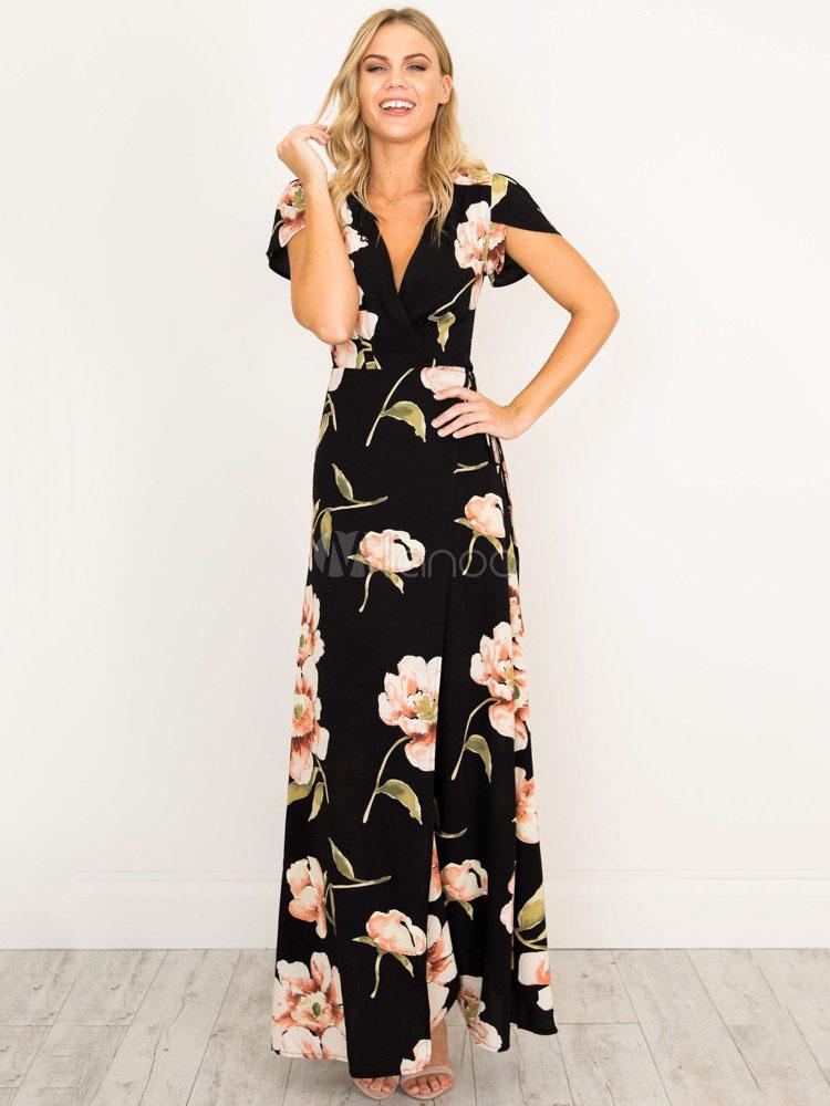 a3dcddf44c4 Maxi vestido de color en negro cuello en V con manga corta estampado de  flor Boho vestido largo de mujer - Milanoo.com