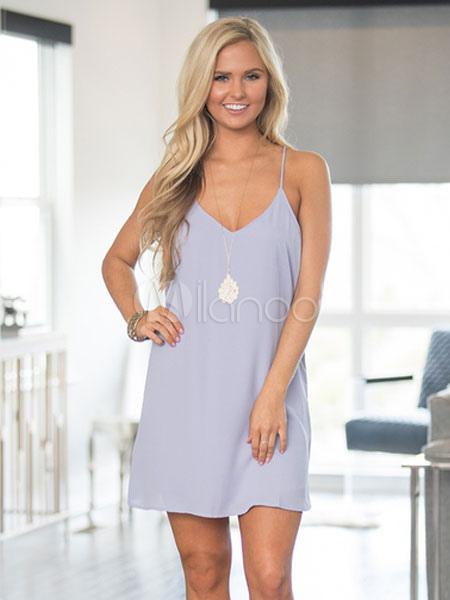 Purple Summer Dress Sleeveless Chiffon Women's Slip Short Dresses