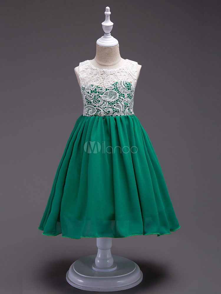 Mint Green Flower Girl Dresses Lace Chiffon Round Neck Sleeveless Tutu Dress Patchwork A Line Girls Dinner Party Dresses