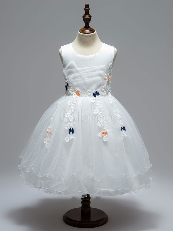 Buy White Flower Girl Dresses Round Neck Sleeveless Tutu Dress Lace Tulle Bows Flowers Applique Toddler's Pageant Dresses for $24.49 in Milanoo store