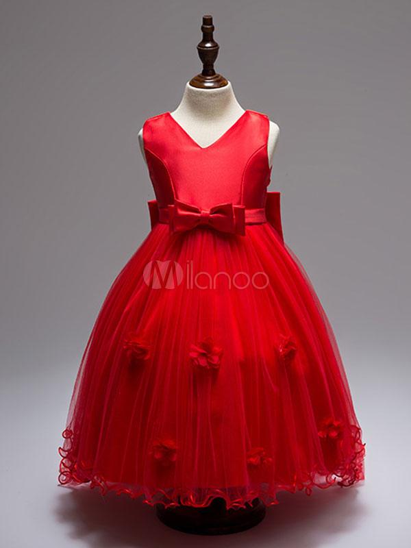Red Flower Girl Dresses V Neck Sleeveless Tutu Dress Tulle Satin Princess Toddler's Pageant Dresses