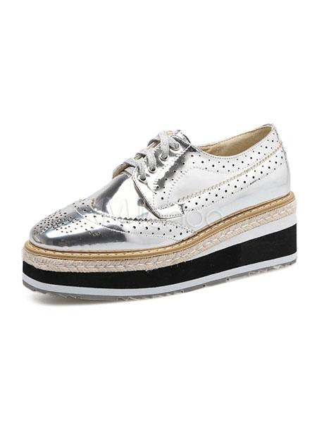 Zapatos de puntera cuadrada slip-on de PU de tacón de cuña Color liso estilo informal Primavera para pasar por la noche euXWBCMLX