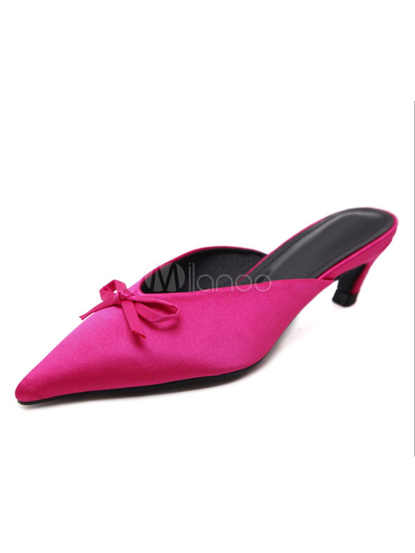 Fuchsia Mules Shoes Pointed Toe Bow Kitten Heel Backless Women s Slip On ... 2dc4dab41