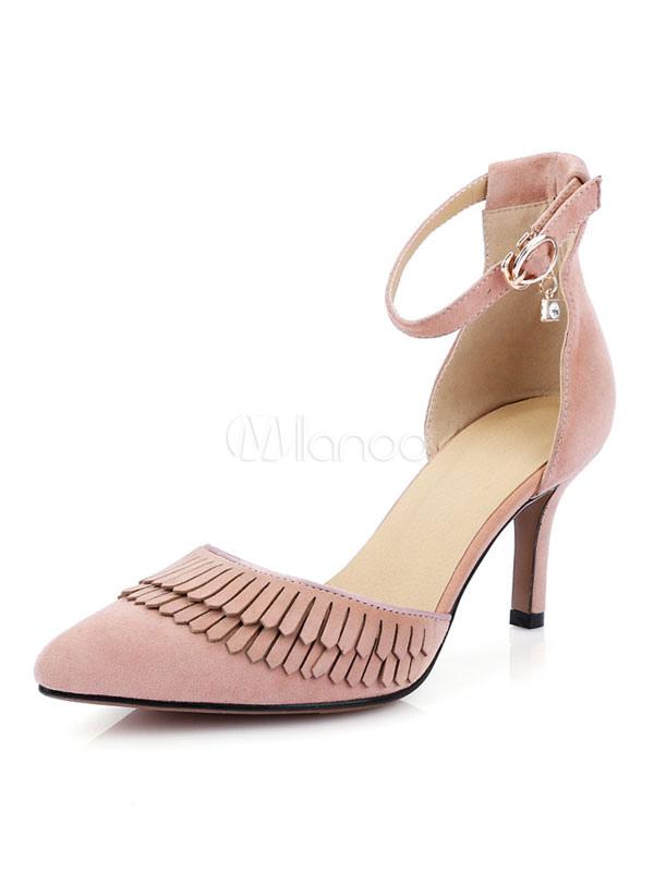 Zapatos de tacón medio elegantes para pasar por la noche de tacón de kitten con pala de ante de puntera puntiaguada KFcdn0