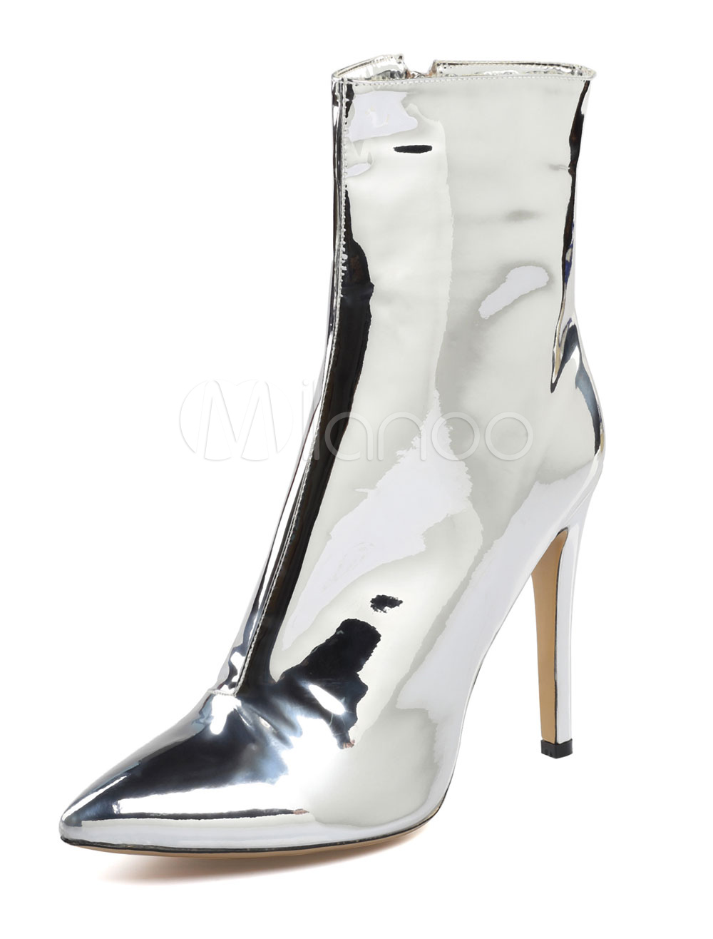 Buy Women's Ankle Boots High Heel Silver Pointed Toe Patent PU Zip Up Booties for $89.24 in Milanoo store