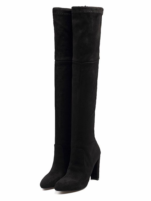 selezione migliore 86832 ceca5 Stivali sopra al ginocchio borgogni neri stivali tacco largo monocolore  antiscivoli lacci con tubo sotto il ginocchio