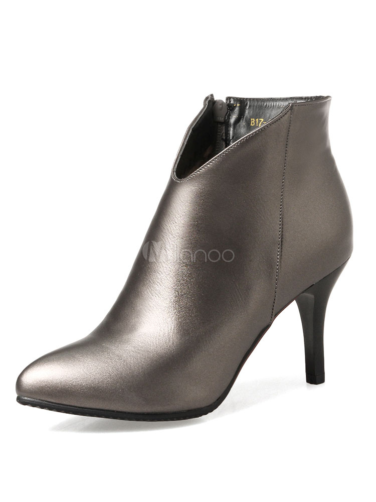 Women's Ankle Boots High Heel Champagne Pointed Toe Zip Up Booties