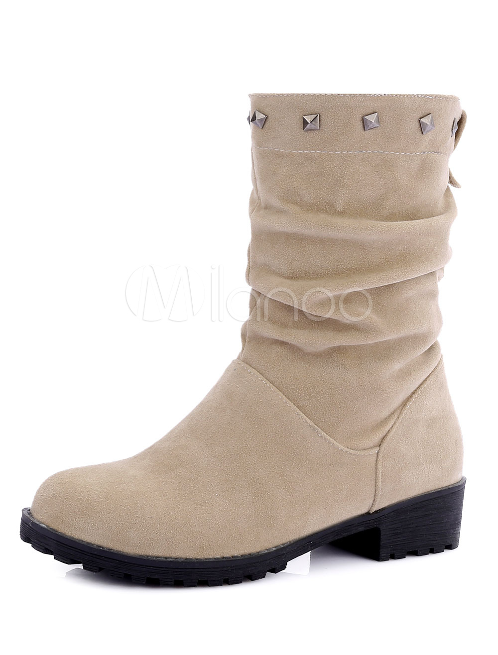 Buy Women's Suede Booties Apricot Round Toe Rivets Slip On Winter Boots for $33.24 in Milanoo store