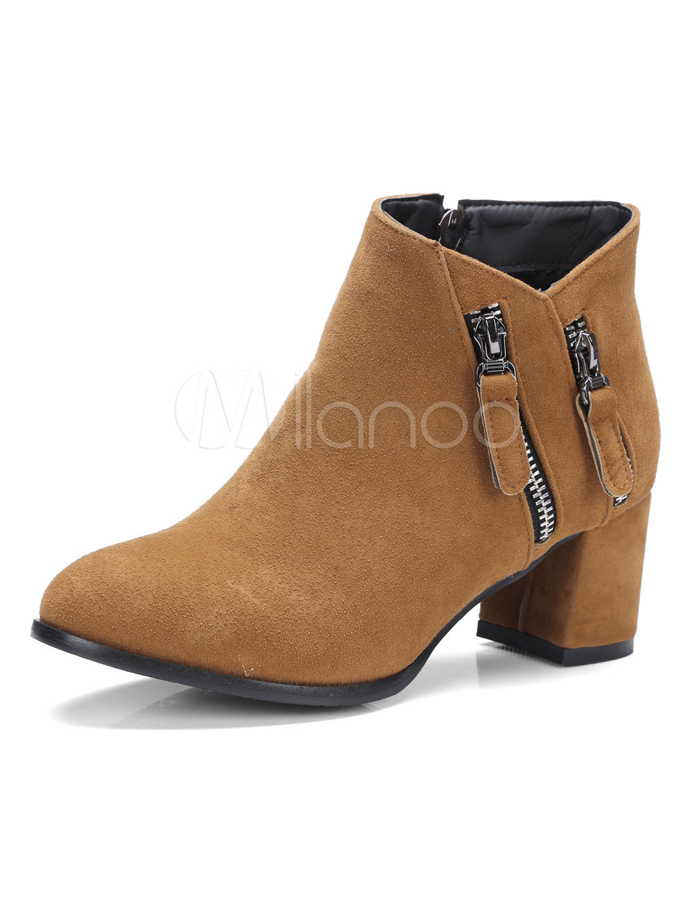 Buy Brown Ankle Boots Suede Pointed Toe Zip Detail Mid Heel Winter Booties For Women for $33.24 in Milanoo store