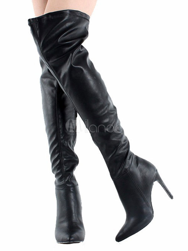 f8504fe3220 Over Knee Boots Black High Heel Pointed Toe Faux Leather Thigh High Boots