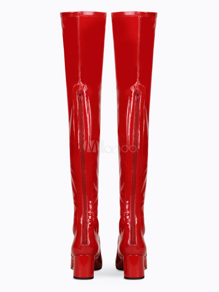 d62939681 ... Tight High Boots Red Round Toe Patent PU Mid Heel Over Knee Boots For  Women- ...