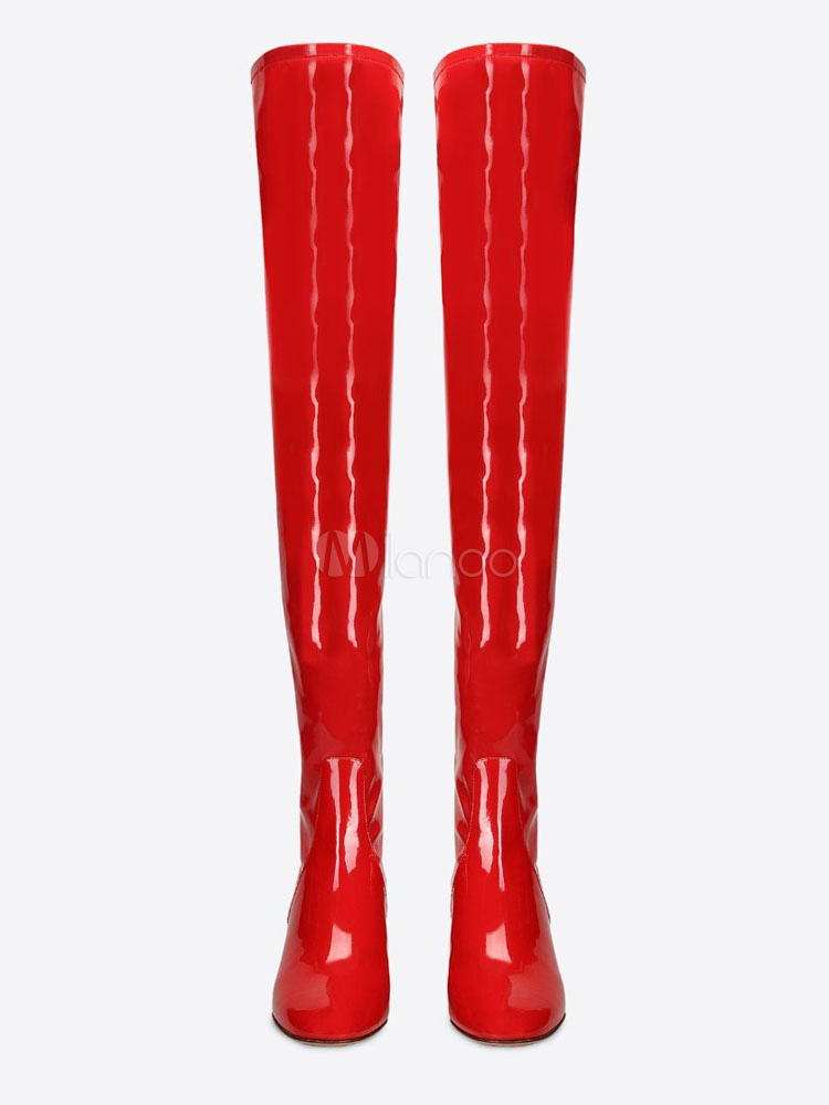 bf3ef6fec ... Tight High Boots Red Round Toe Patent PU Mid Heel Over Knee Boots For  Women-