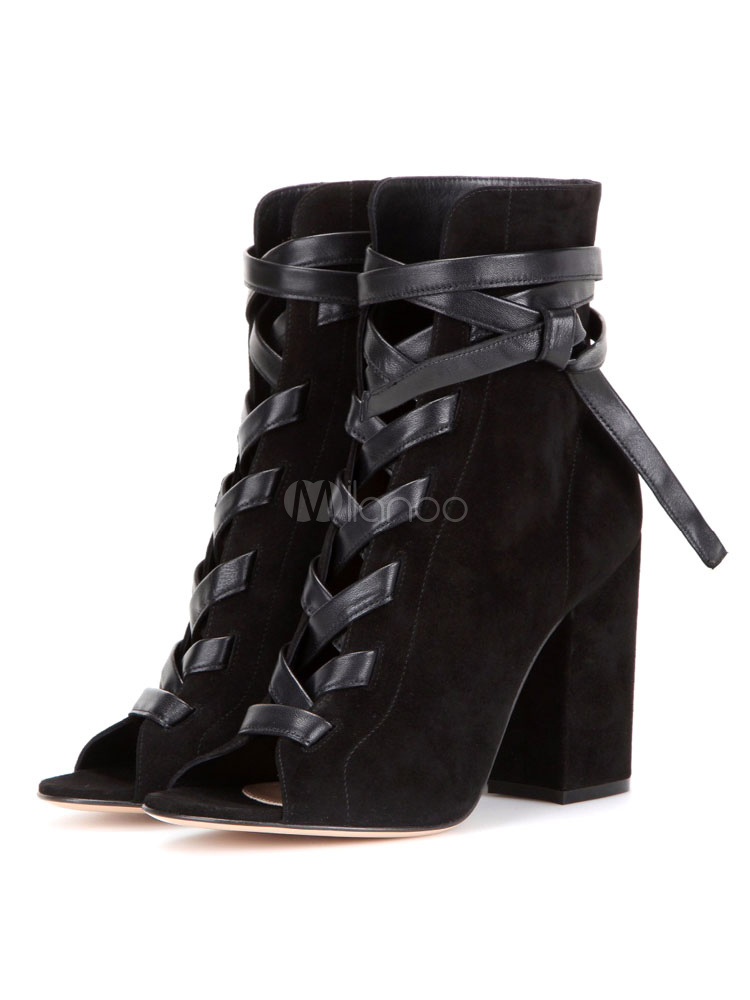 Buy Women's Black Boots Peep Toe Chunky Heel Lace Up Suede Booties for $73.79 in Milanoo store