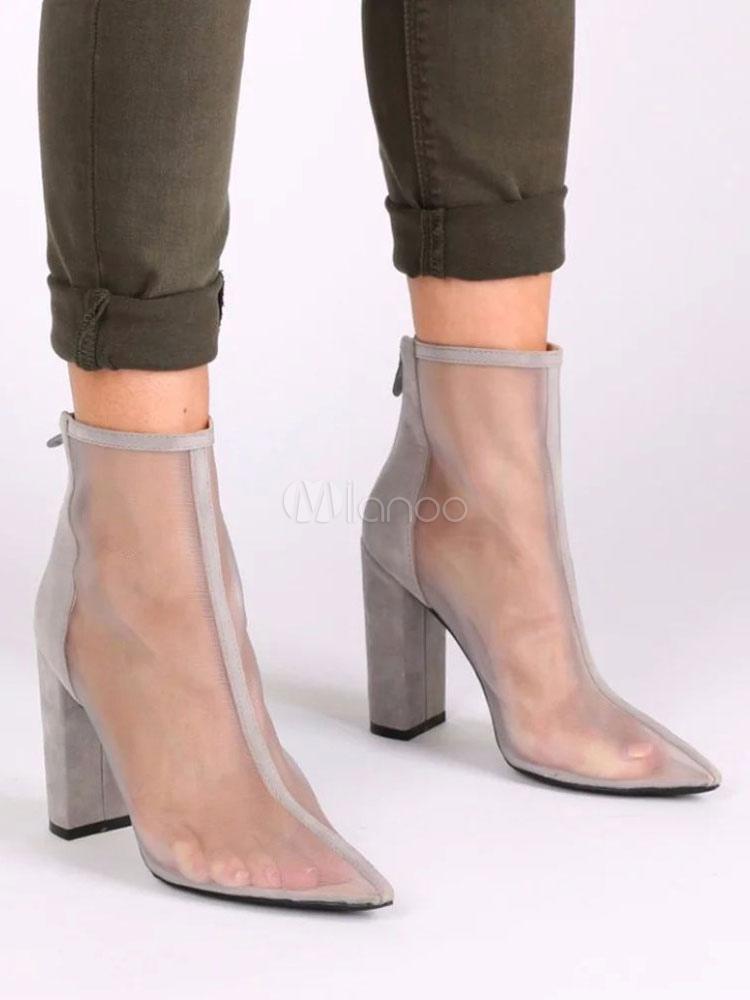 Grey Sandal Boots Pointed Toe High Heel Gauze Chunky Heel Women's Booties
