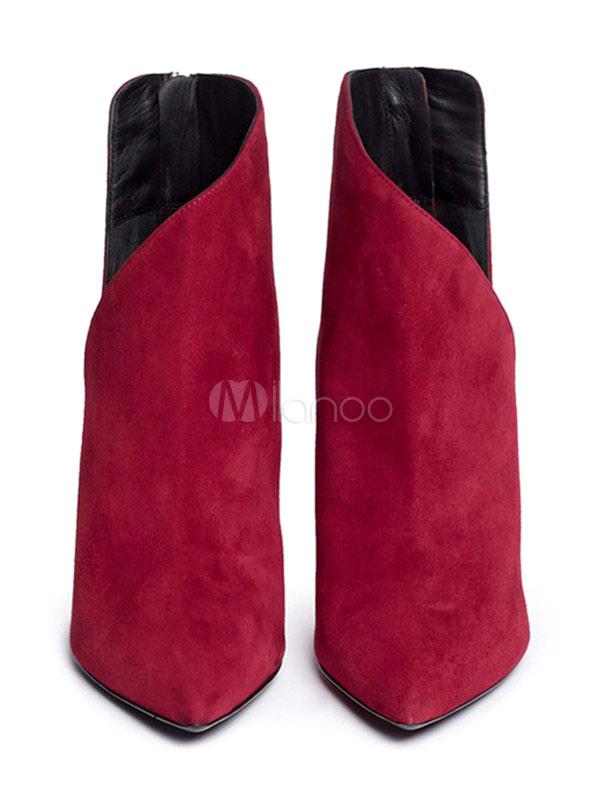 Red Ankle Boots Suede Kitten Heel Women's Pointed Toe Zip Up Booties