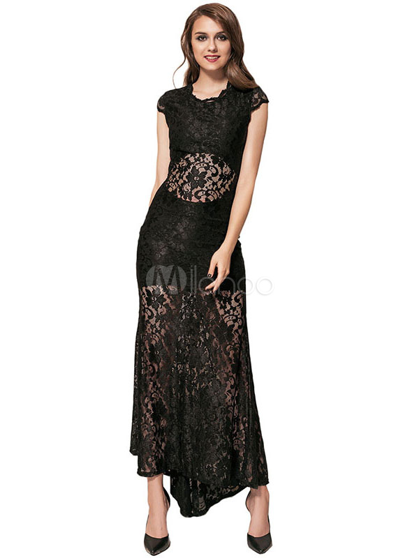 Buy Black Party Dress Round Neck Short Sleeve Lace Semi Sheer Cut Out Women's Long Dresses for $62.99 in Milanoo store
