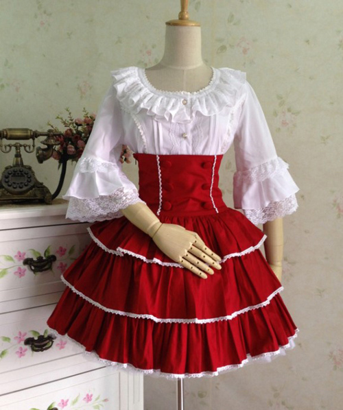 Rococo Lolita SK Skirt Two Tone Ruffles Layered Ribbons Pleated Red Lolita Dresses