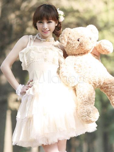 Buy Gothic Lolita JSK Jumper Skirt Chiffon Sleeveless Lace Ruffles Pleated White Lolita Dresses for $64.99 in Milanoo store