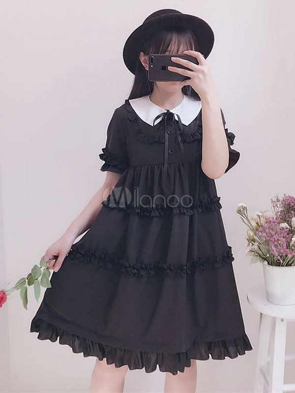 Buy Gothic Lolita OP One Piece Dress Turndown Collar Puff Sleeve Two Tone Ruffles Black Lolita Dresses for $64.99 in Milanoo store