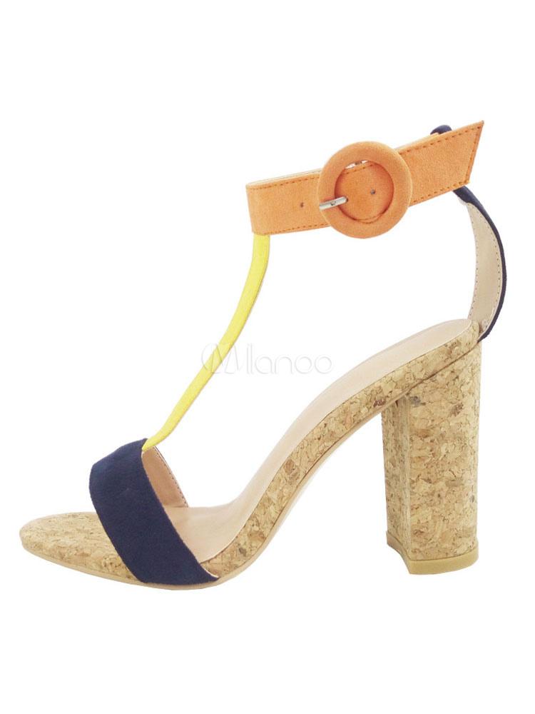 b5e29b5cac92 ... High Heel Sandals Corduroy Women s Multicolor Open Toe T Type Ankle  Strap Sandal Shoes-No