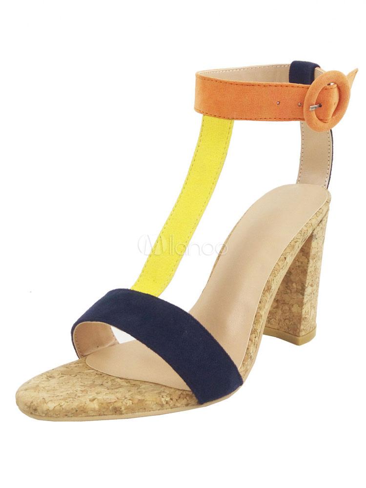 85a8ef7829d7 ... High Heel Sandals Corduroy Women s Multicolor Open Toe T Type Ankle  Strap Sandal Shoes- ...