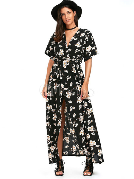 6a6903e45c Summer Maxi Dress White Floral Print V Neck Half Sleeve Chiffon Split Women s  Long Dresses- ...
