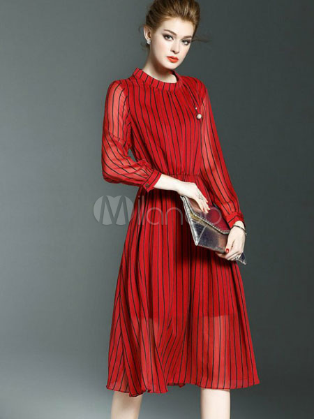 Buy Red Skater Dress Stand Collar Long Sleeve Striped Semi Sheer Pleated Women's Summer Dresses for $28.89 in Milanoo store