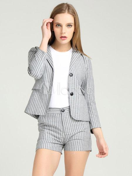 3ffa886c369 Куртка Blazer Set Серый отворотный воротник 3 4 Длина рукава Полосатое  пальто с шортами- ...