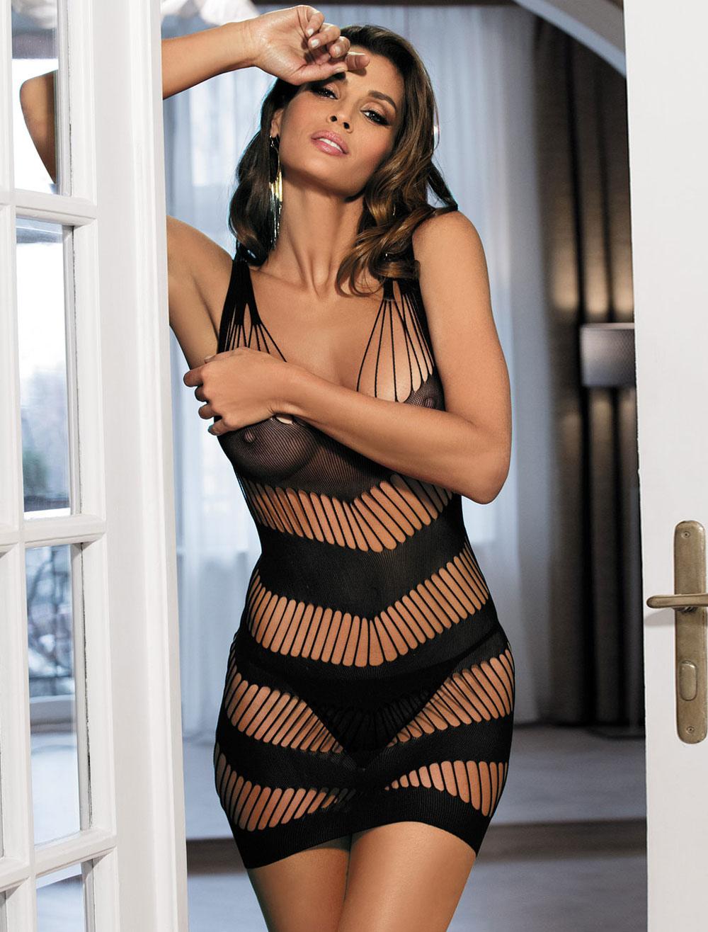 Sexy Lingerie Chemises Black Sleeveless Semi-Sheer Cut Out Lingerie Dress