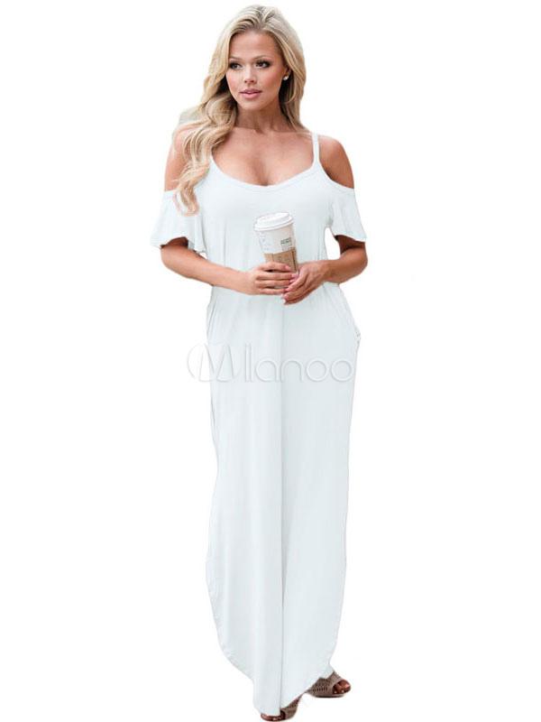 Buy White Maxi Dress Cold Shoulder Spaghetti Straps Short Sleeve Women's Long Dresses for $14.24 in Milanoo store