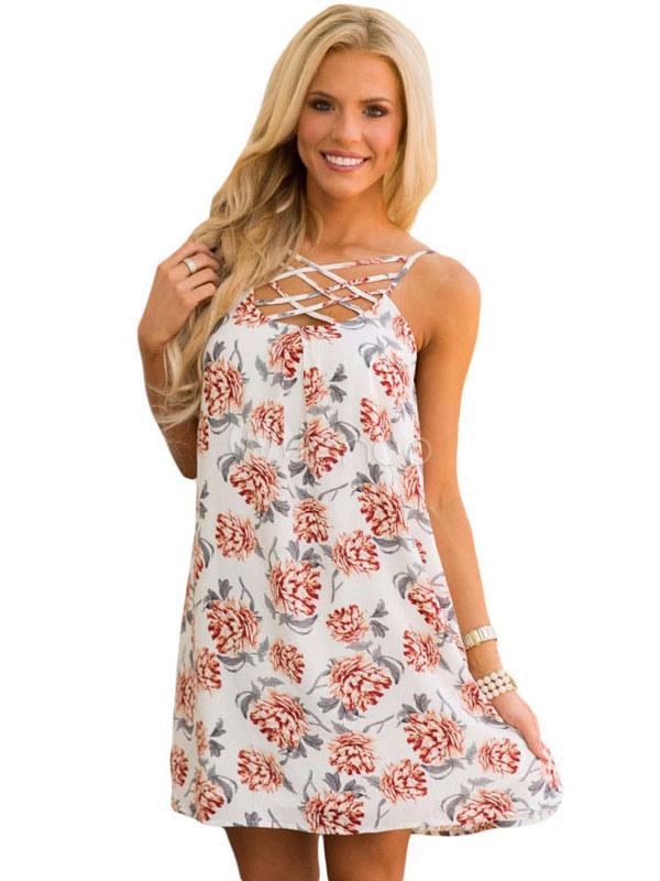 Buy White Shift Dress U Neck Sleeveless Criss Cross Boho Floral Print Low Back Women's Short Dresses for $15.29 in Milanoo store