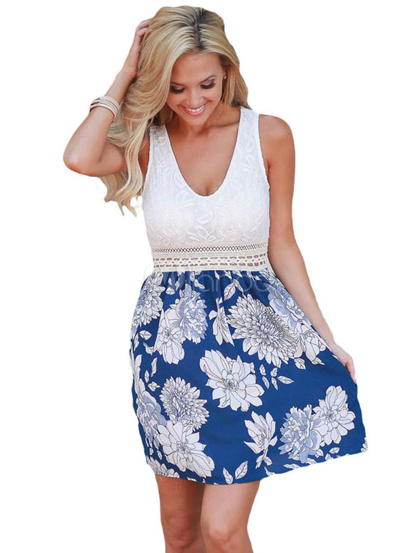 Buy Blue Skater Dress U Neck Sleeveless Floral Print Patchwork Women's Short Dresses for $18.99 in Milanoo store