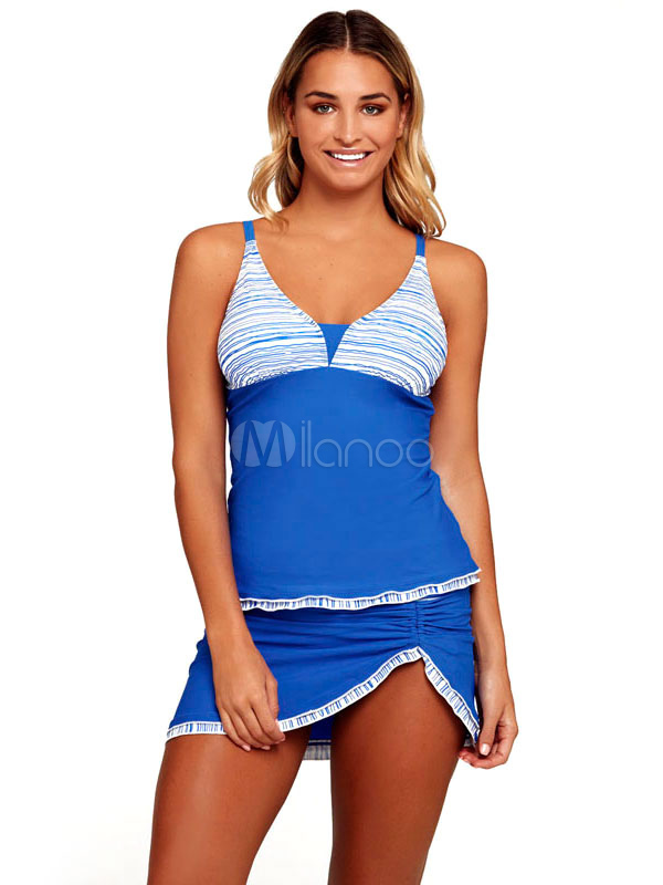 Buy Blue Tankini Swimsuit Sleeveless Color Block Ruched Asymmetrical Two Piece Women's Bathing Suits for $23.74 in Milanoo store
