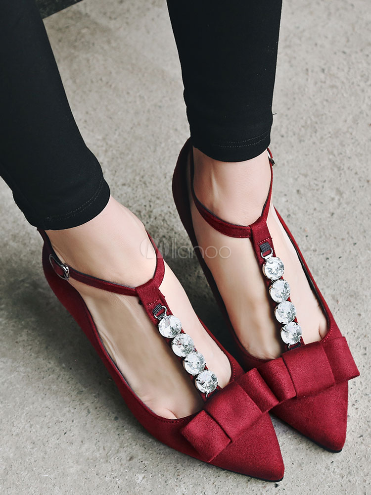 Pointed Toe Pumps Suede Rhinestones Beaded Bowknot T Strap