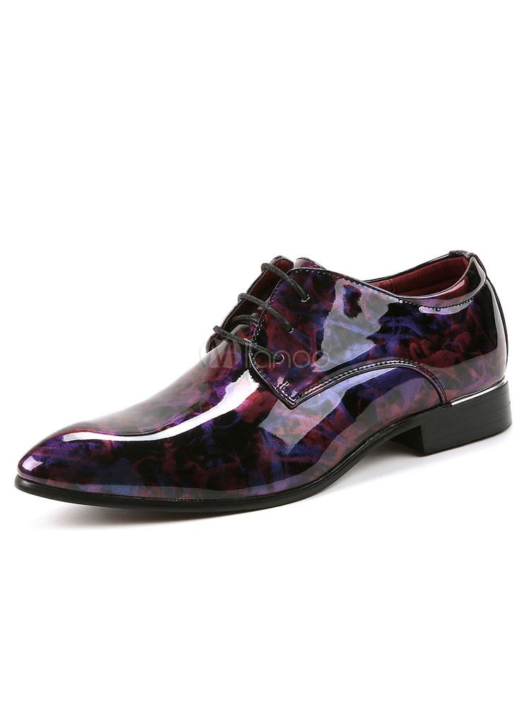 Zapatos de vestir de tacón gordo de puntera puntiaguada de PU con estampado estilo informal para hombre Verano dIi5UTwdUj