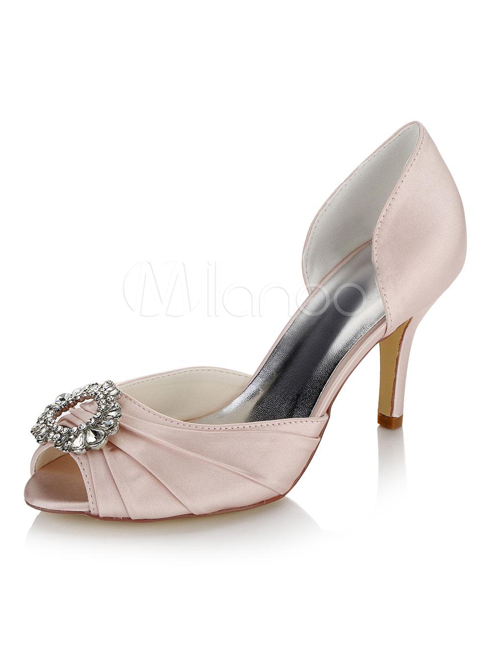 Zapatos de punter Peep Toe de tacón de stiletto de satén con pedrería de lujo Fiesta de bodas rvTSIf0Spy