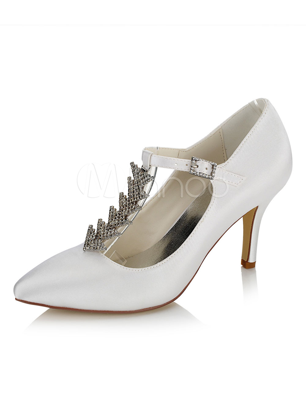 Buy White Wedding Shoes Satin High Heel Pointed Toe Rhinestones T Type Bridal Shoes for $55.09 in Milanoo store