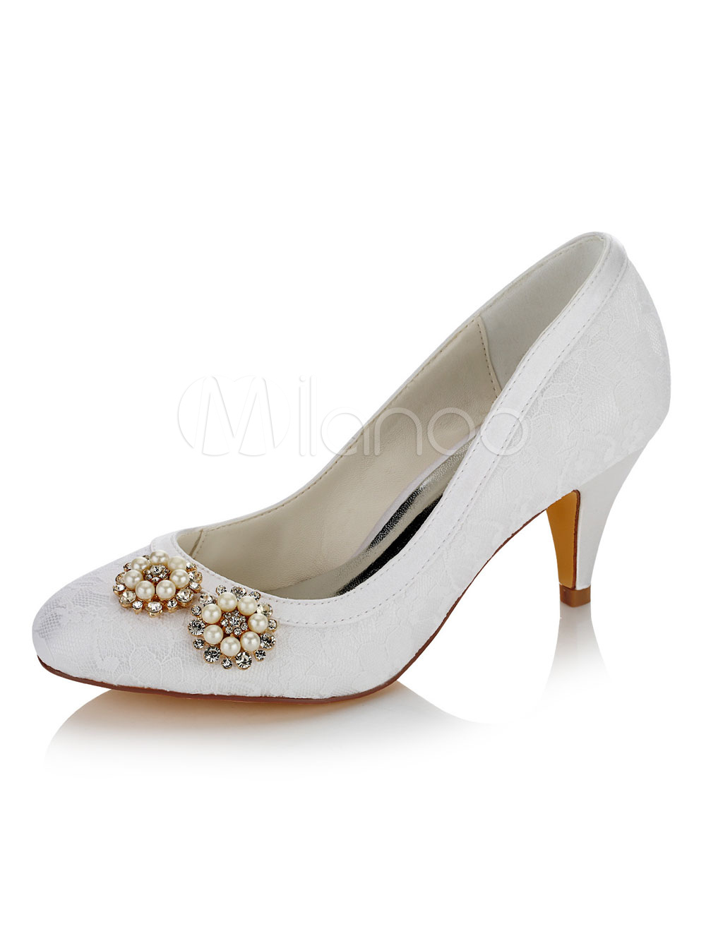 White Wedding Shoes White Round Toe Rhinestones Pearls Detail Slip On Bridal Pumps