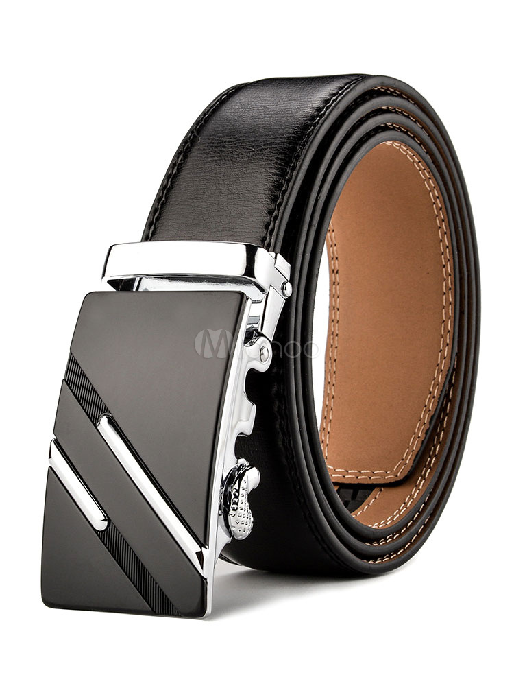 nueva estilos f9ee9 53689 Cinturones para hombre negros Color liso Detalles metálicos Business casual
