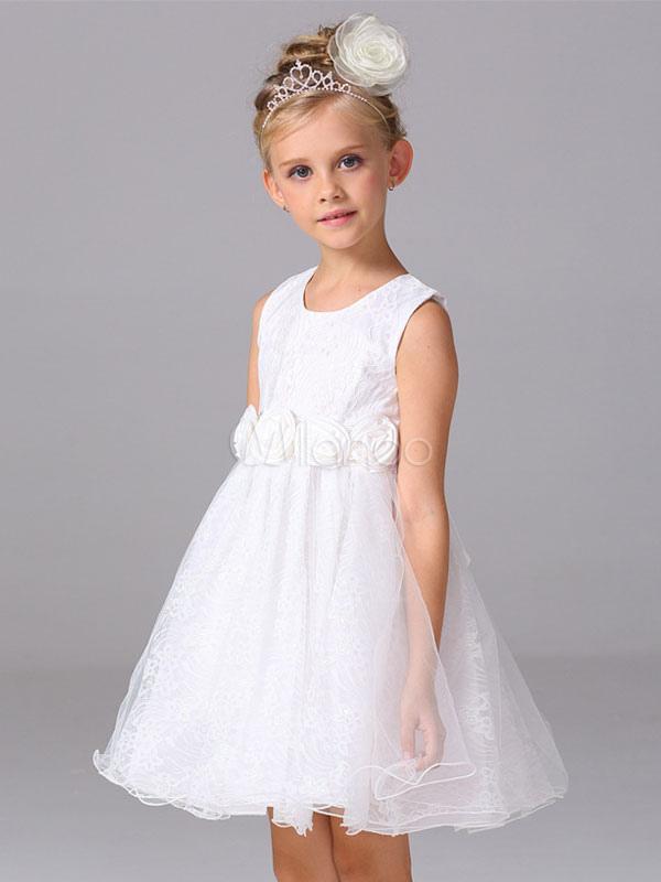 4ebd57f2e3a7 ... Abito da ragazza di fiore bianco a fiori fiocchi al ginocchio con  scollo tondo smanicato zip ...