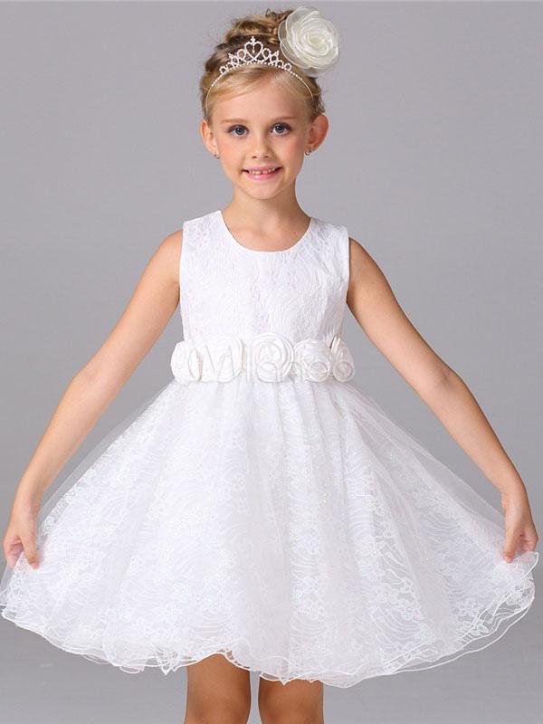cb2c292050b3 Abito da ragazza di fiore bianco a fiori fiocchi al ginocchio con scollo  tondo smanicato zip ...