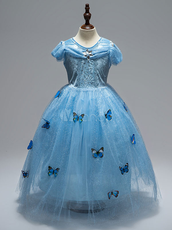 Princess Flower Girl Dresses Blue Lace Butterfly Jeweled Tulle Pageant Dresses