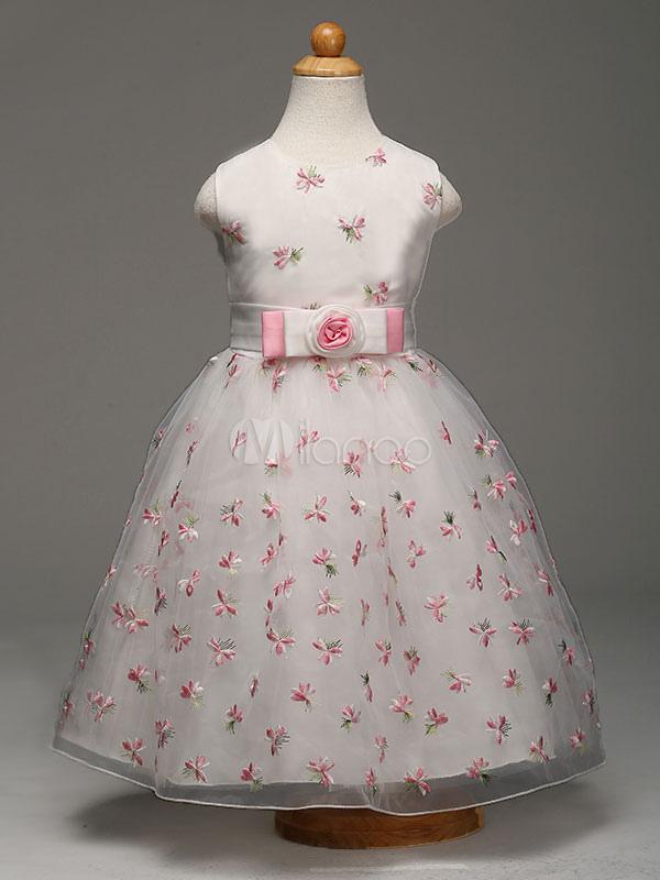 Princess Flower Girl Dresses White Embroidered Bows Knee Length Kids Dinner Party Dresses