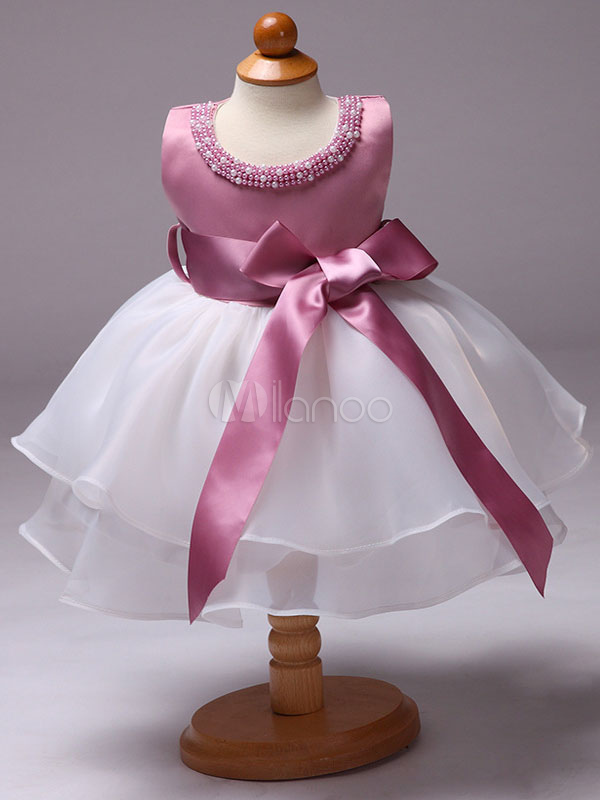 Flower Girl Dresses Princess Pink Pearls Satin Organza Ribbon Bow Toddler's Pageant Dresses