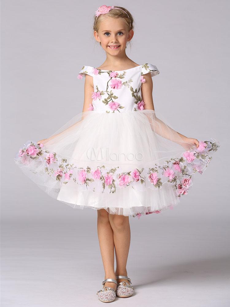 15826baf3bbf Princess Flower Girl Dresses Floral Off The Shoulder Tutu Dress Knee Length  Kids Dinner Party Dress ...
